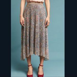NWT Anthropologie Maeve Midi Skirt Floral Mettalic